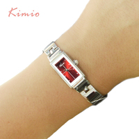 Kimio Brand Woman Bracelet Watch Simple Ladies Rectangle Dress Quartz Watch Stainless Steel Band Wrist Watches