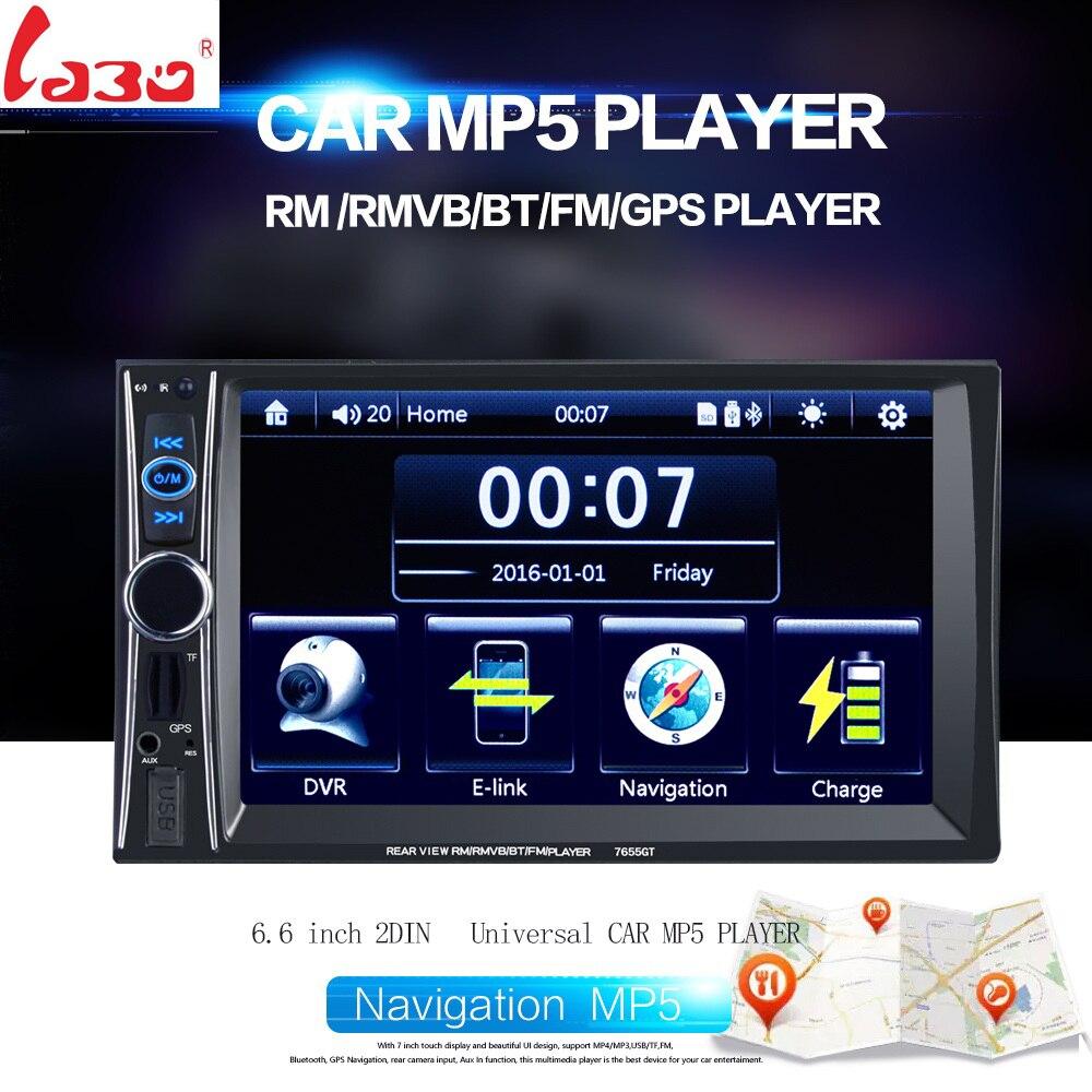 Лабо 2 Дин 1080р univeral автомобиля DVD-плеер видео 7655GT 12В Сенсорный экран GPS-навигаторы с пультом дистанционного управления Камера заднего вида