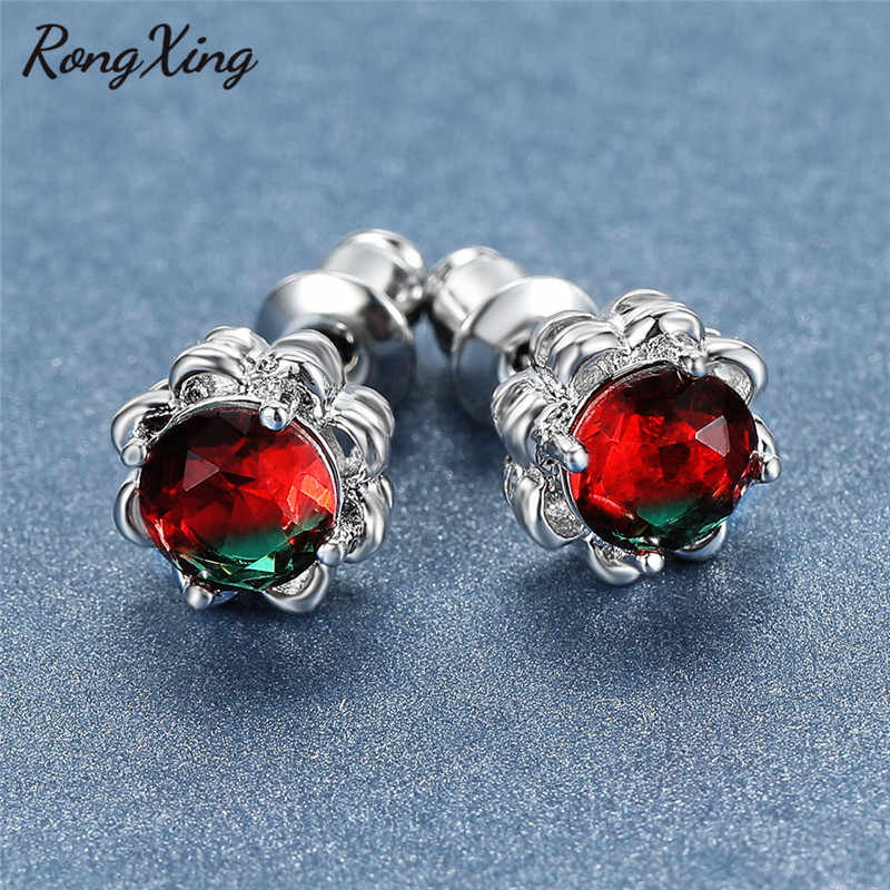 RongXing Unique Rose Red Green Crystal Zircon Stud Earrings for Women 925 Silver Filled Rainbow Stone Earring Lady Boho Jewelry