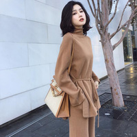 Winter Women Clothing 2018 Female Two Piece Set Knitted Suit Warm Suit For Woman Together Top+Pants Set