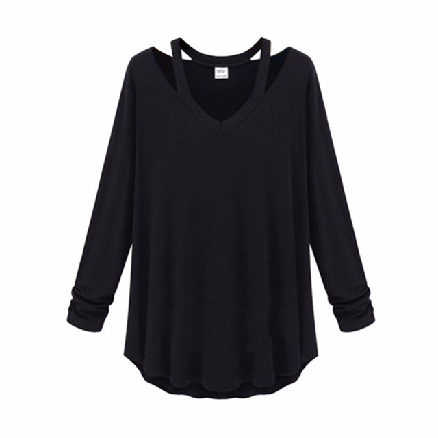 Cosy Fashion Women Shirt Cotton Soft Long Sleeve V Neck Loose Solid Casual T-Shirts Tee Asymetric Hem Tops