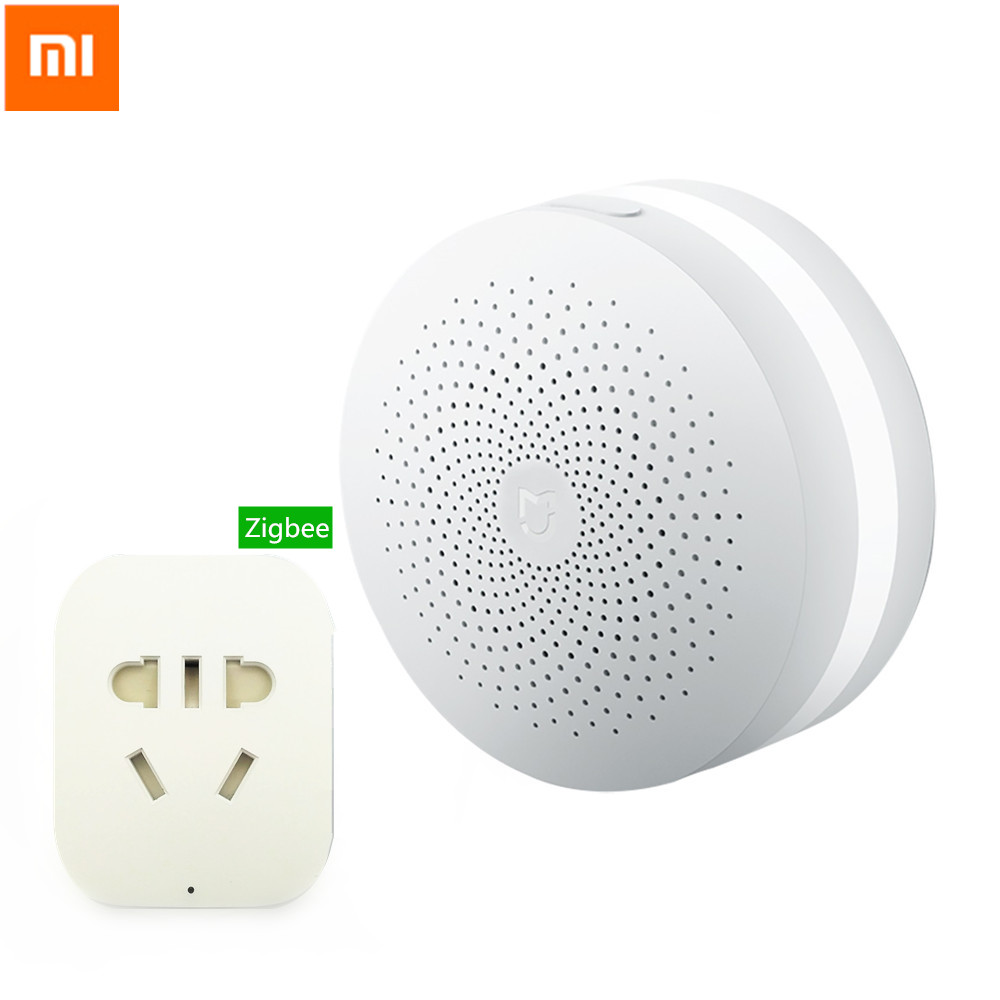 original xiaomi smart home gateway alarm system control center zigbee smart socket plug remote. Black Bedroom Furniture Sets. Home Design Ideas