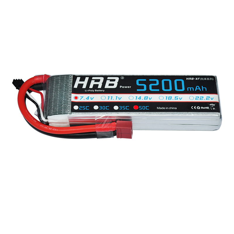 2 шт. HRB RC батарея 7,4 V 5200MAH 50C 100C 2S Lipo батарея RC автомобиль Лодка Самолет Квадрокоптер батарея