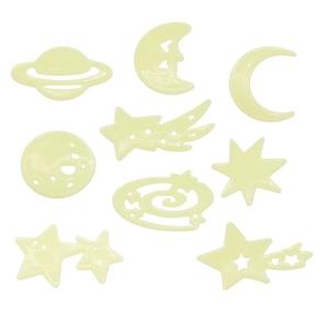 Image 4 - 1 팩 형광 벽 스티커 별 문 홈 장식 빛나는 공간 행성 벽 스티커 소년 어린이 방 DIY 전사 술