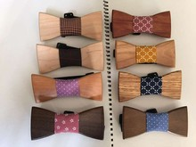 Free Shipping Free Shipping Beech wood bow tie with Swallow gird print fabric, 100% hand made Bow Tie,Neck Tie