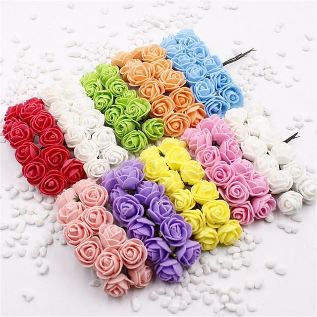 2 cm hoofd Multicolor PE rose foam mini bloem Boeket effen kleur/Scrapbooking kunstmatige rose bloemen (12 stks/partij)