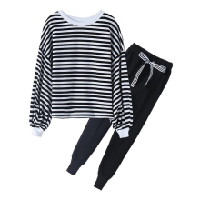 Spring Autumn Teenage Girls Clothing Set Stripe Blouse+Long Pants Children Sports Suit 2pcs For Sets