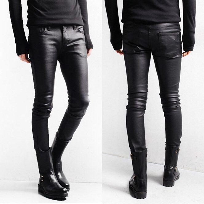 Korean Style Black Skinny Jeans Men Coated Denim Pants Washed Long Pencil Pants Slim Fit Boots ...