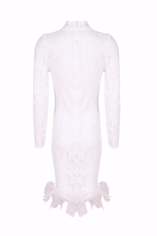Partie Femmes Nouvelle Arrivée Roulé Genou Blanc À Robe Robes Sexy Plumes Bandage Col Longues Moulante longueur 2018 Manches q50xSBwd