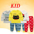 Cartoon car print toddler girl clothing vetement enfant fille ropa de ninas Cotton shirt + pants baby sleepwear pijamas KD175