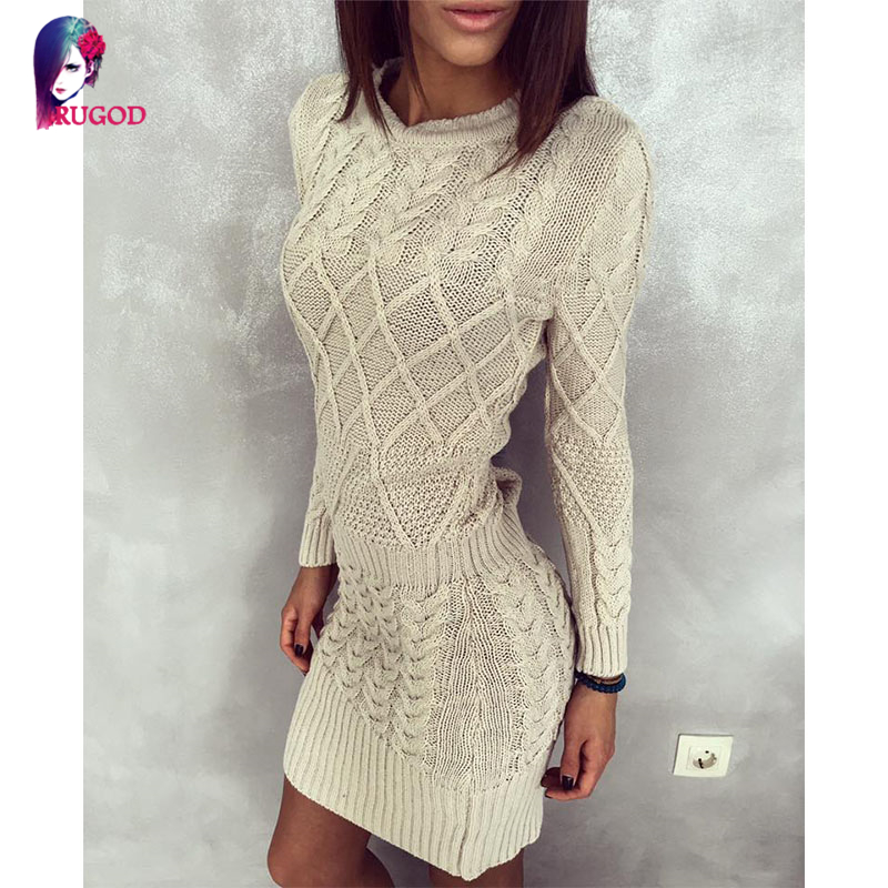 New Women Sweater Dresses Autumn Winter Long Sleeve Knitted Thick High Elastic Black White Gray Warm Slim Bodycon Dress Vestidos