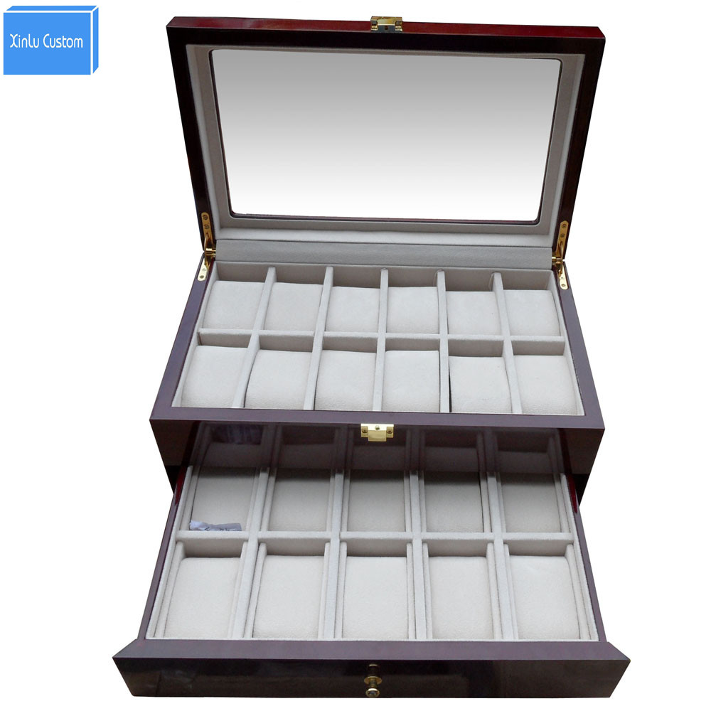 Watchcase Storage  Luxury 22 Slots 2 Layer Wood Glossy Lacquer Watch Box Jewelry Collection Display Drop Shipping Supply watchcase storage luxury 22 slots 2 layer wood glossy lacquer watch box jewelry collection display drop shipping supply