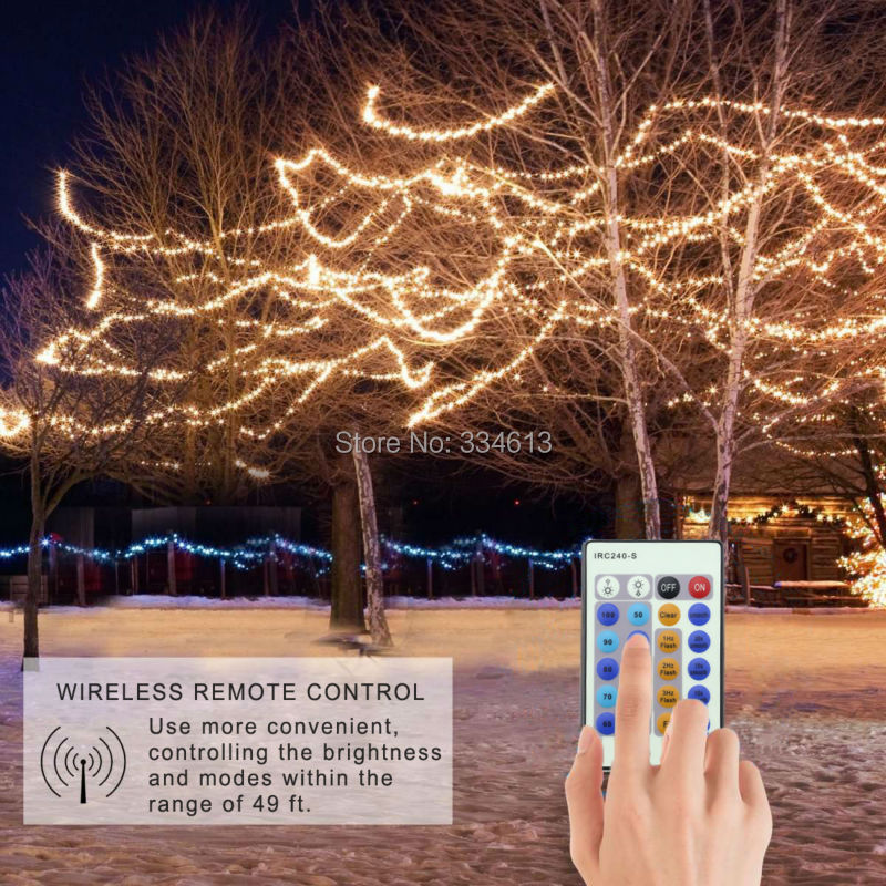 15M/49FT 300LEDs Copper Wire Warm White Remote LED String Lights Starry Lights Christmas Fairy Lights+UL CE Corded Adapter