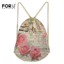 FORUDESIGNS 2019 Fashion Women Girls Drawstring Bags Rose Retro Design Sport Shoe Dance Bag Schoolbag Storage Backpack Sac A Dos(China)