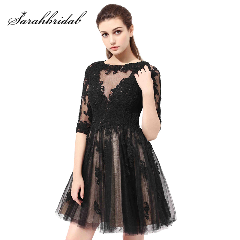 Half Sleeve Black Lace Appliques Short   Cocktail     Dresses   Homecoming Gowns Illusion Tulle A Line Zipper Back Party   Dress   OS384