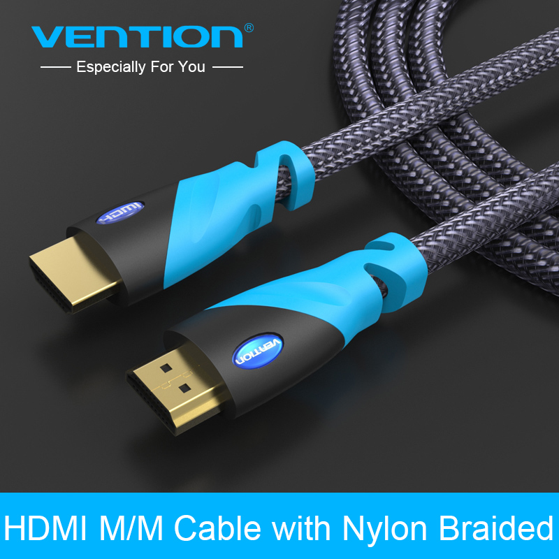 Vention HDMI Cable 1m  2m 3m 5m Male to Male Gold Plated HDMI 1.4V 1080P 3D for PS3 projector HD LCD Apple TV computer cable