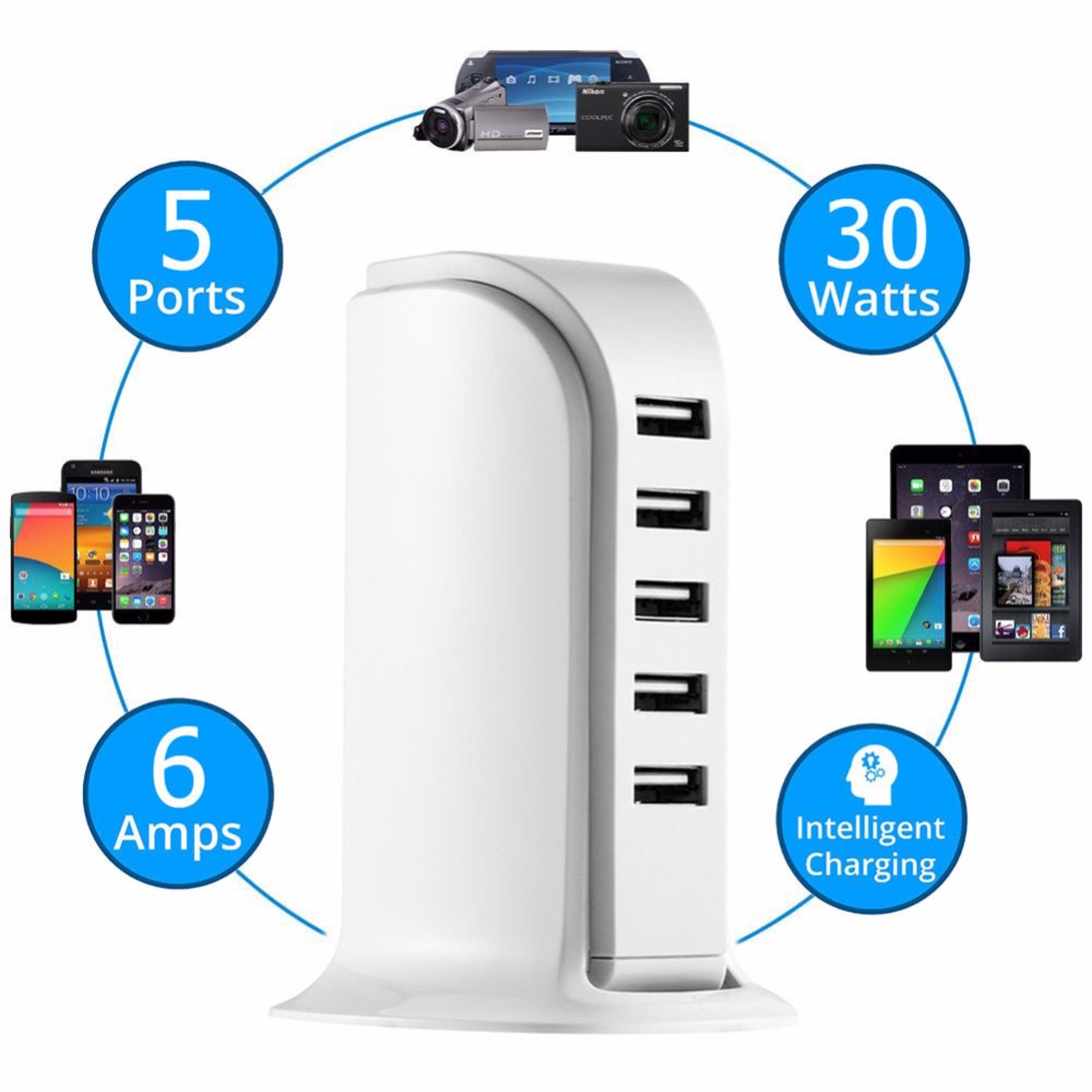 5 USB Ports Charger 30W Power Adapter HUB 4A Wall Charging Extension Socket Smart 5-Port Travel Desktop Powerport US UK EU Plug orico dcap 5u wh 5 ports usb wall charger for tablet pc cellphone white us plug