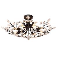 American BLACK country village K9 crystal + wrought iron E14 Led Ceiling Chandelier Fixtures restaurant indoor LED lamp