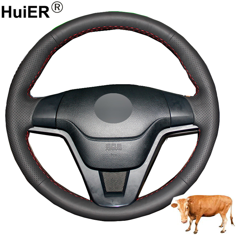 Hand Sewing Car Steering Wheel Cover Top Cow Leather Braid on the Steering wheel For <font><b>Honda</b></font> <font><b>CR</b></font>-<font><b>V</b></font> CRV <font><b>2007</b></font> <font><b>2008</b></font> <font><b>2009</b></font> <font><b>2010</b></font> 2011 image