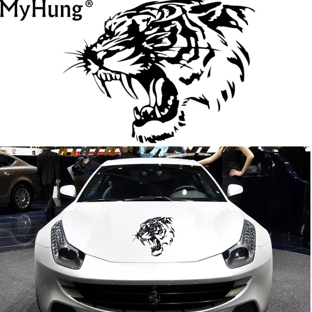New car hood reflective stickers vehicles bonnet car stickers personalized engraving tiger head modified car stickers