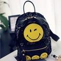Korean Retro Leather Rivet Sequin Smile Backpacks Women's Casual Daypacks School Bags For Teenagers Girl Ladies Rucksack Mochila