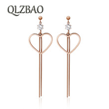 QLZBAO New 361L Stainless Steel Love Pendant Earring Romantic Fashion Crystal Wedding EarringFor Women Jewelry Wholesale(China)