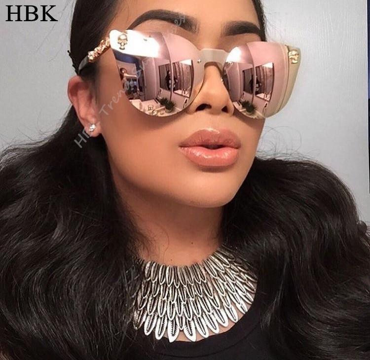 HBK Rose Gold Sunglasses Women Skull Mirror Diamond Brand Designer Metal Frame Sun Glasses Mirror Flat Lens Lunettes de soleil