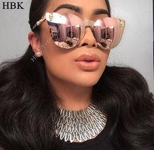 HBK – Lunettes de soleil à monture métallique pour femmes, Rose or, miroir crâne diamant, marque de styliste, verres plats