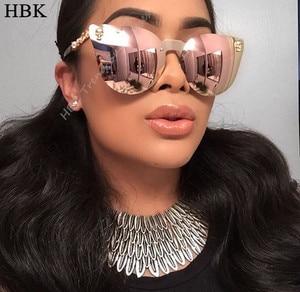 HBK Rose Gold Sunglasses Women Skull Mirror Diamond Brand Designer Metal Frame Sun Glasses Mirror Flat Lens Lunettes de soleil(China)