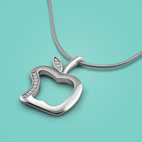 Simple Lady 925 Sterling Silver Necklace Apple Pendant Necklace Solid Silver Snake Necklace Design Ladies Popular