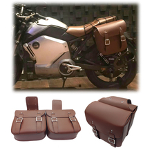 KYN 1 double-layer motorcycle brown double buckle saddle bag waterproof bicycle side storage fork tool kit PU leather side bag
