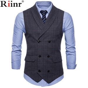 Riinr 2019 Brand Suit Vest Men Jacket Sleeveless Beige Gray Brown Vintage Tweed Vest Fashion Spring Autumn Plus Size Waistcoat