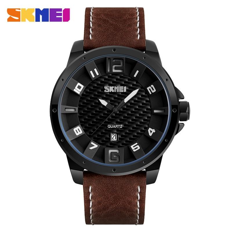 SKMEI Men Fashion Quartz Wristwatches Leather Strap Complete Calendar Waterproof Clocks Sports Watches 9150 Relogio Masculino люстра потолочная коллекция ampollo 786102 золото коньячный lightstar лайтстар