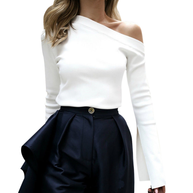 2018 New Fashion Casual Women Spring Summer Clothing for Cross-Border Inclined Shoulder Long Sleeved Solid All-match T-shirt