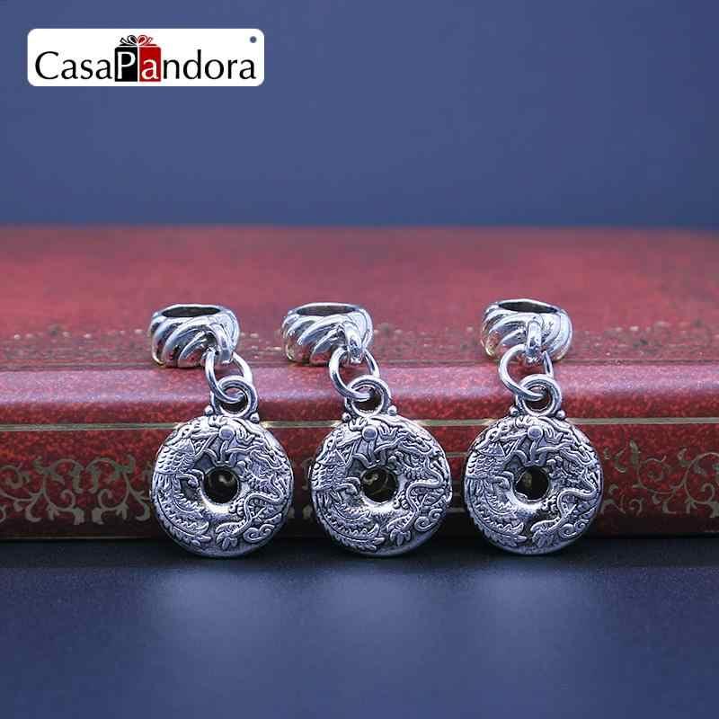 CasaPandora Серебряный Дракон и Феникс Подвеска с рисунком подходит браслет Шарм бусины для рукоделия изготовление Pingente Berloque