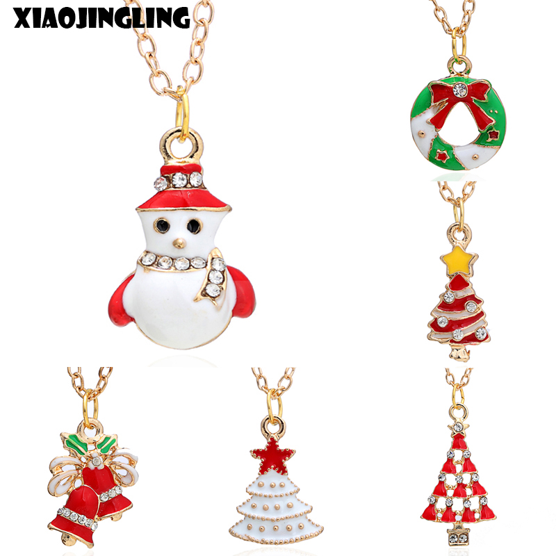 XIAOJINGLING Fashion Long Sweater Necklace Chain Enamel Christmas Tree Bells Candy Bar Pendants Necklaces For Women Xmas Gifts