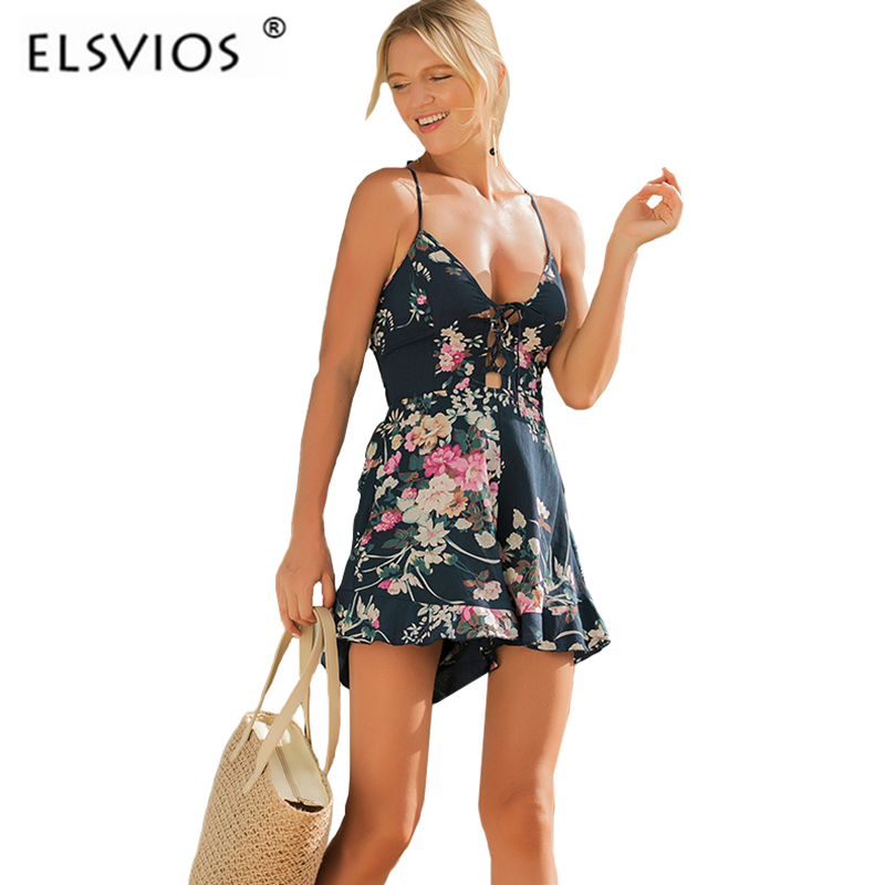 ELSVIOS Lace Up Spaghetti Strap Rompers Jumpersuit women V Neck Backless Bandage Floral print Playsuits Casual beach overalls