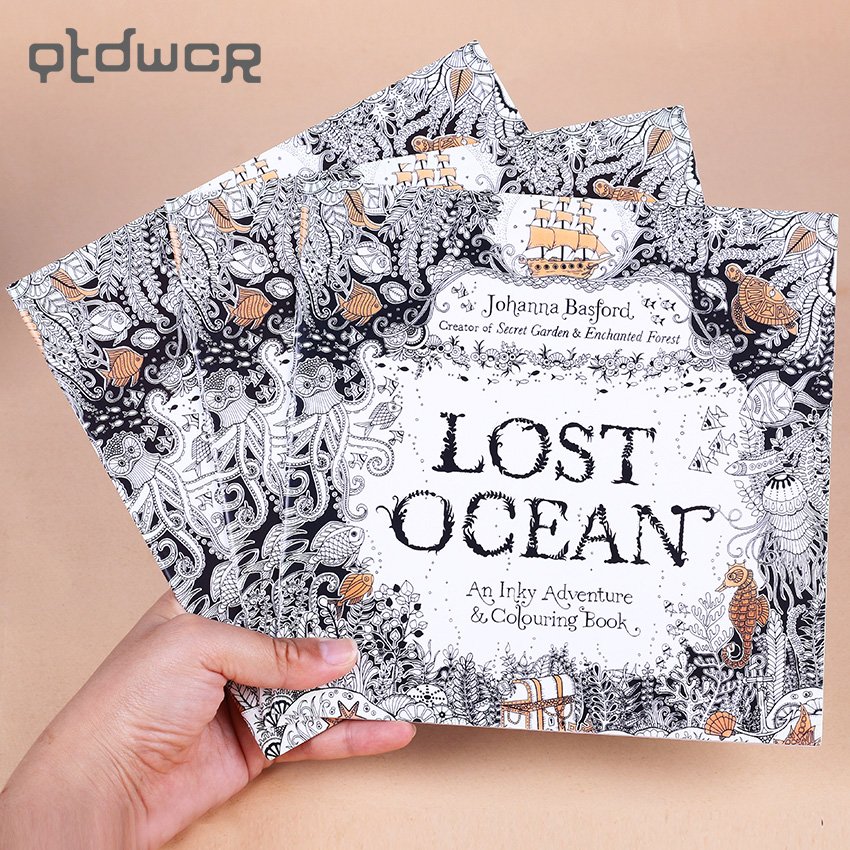 1 PC 24 Pages English Edition Lost Ocean Inky Coloring Book For Kids Adult Relieve Stress Kill Time Graffiti Drawing Art Books