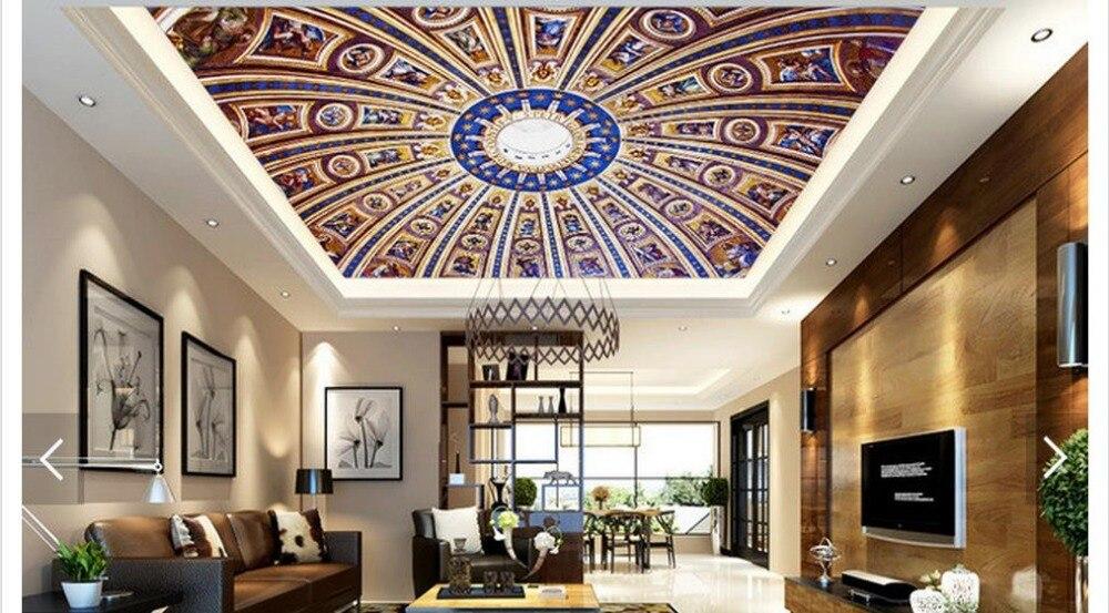 カスタム3d写真壁紙3d天井壁紙壁画3 d建物ホテル天井フレスコ画上