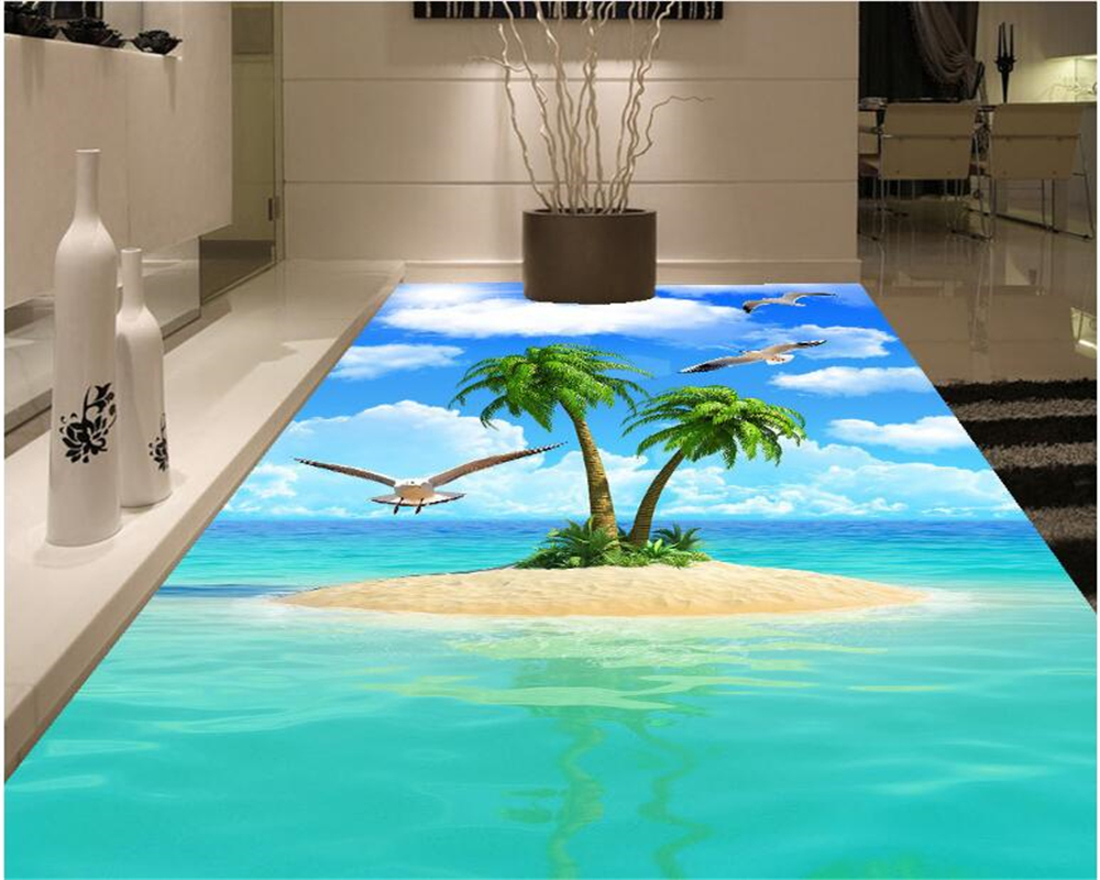 beibehang HD beautiful high quality wallpaper sea coconut trees blue sky white cloud seagull 3d flooring murals papel de parede large photo wallpaper bridge over sea blue sky 3d room modern wall paper for walls 3d livingroom mural rolls papel de parede