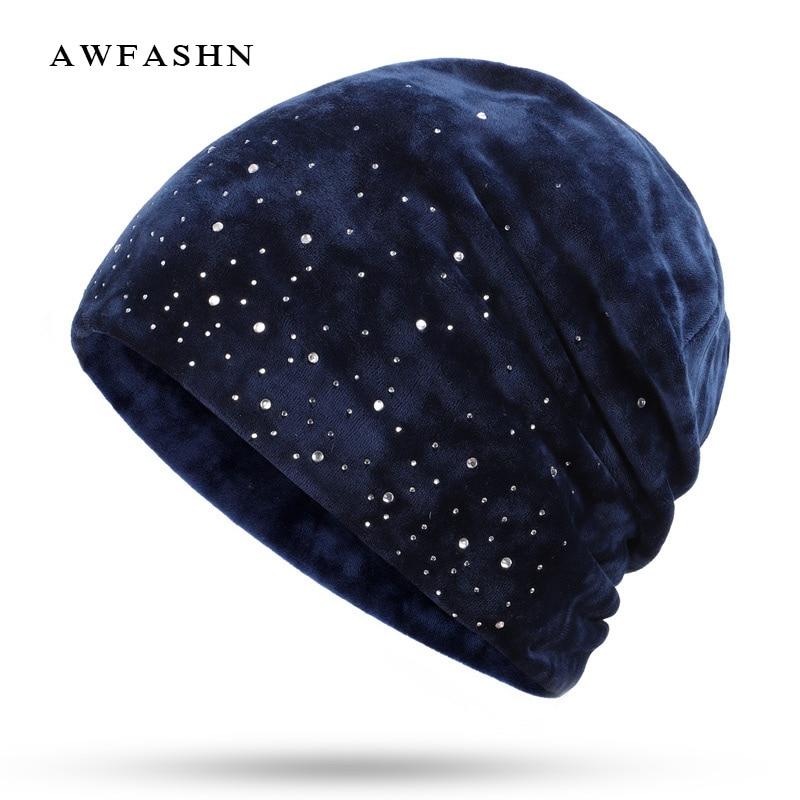 2018 New Fashion Diamond Decorative   Beanies   Hat Velvet Winter Ladies Hat Woman Warm   Skullies   Soft Cap Slouchy Female Rhinestone