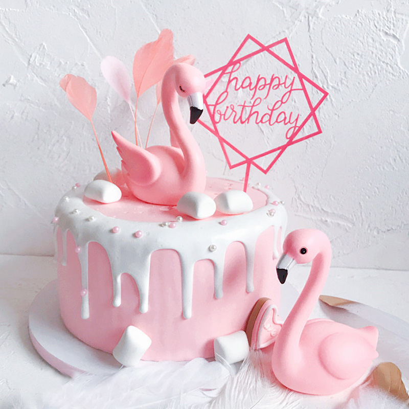 3D Pink Flamingo Cake Topper For Wedding Happy Birthday Party Anniversary Baking DIY Decoration Supplies