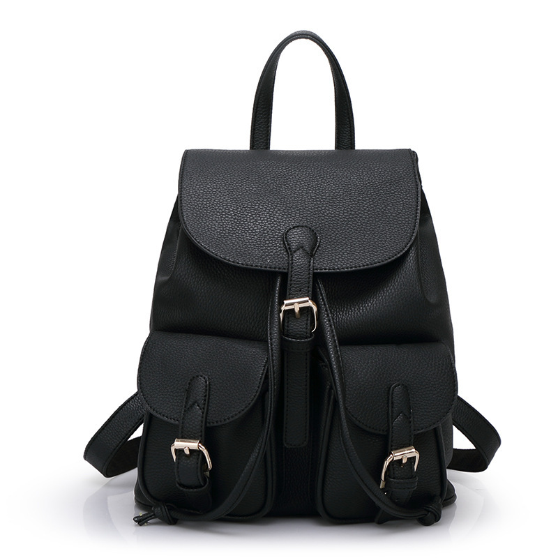 Pu Leather Women Backpack Vintage Black Women Leather Backpack ...