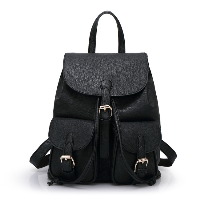 c787e465df Pu Leather Women Backpack Vintage Black Women Leather Backpack  Mountaineering Cute Fashion BackP ack Novelty Larger Backpack