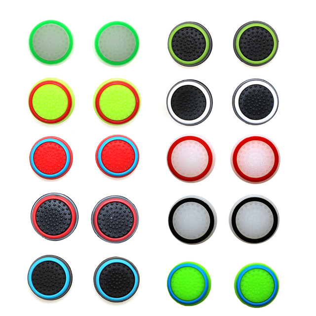 4 sztuk silikonowe analogowe Thumb Stick uchwyty pokrywa dla PS4 kontroler nakładki na palce dla PS4 Pro Gamepad dla Xbox One dla Xbox 360