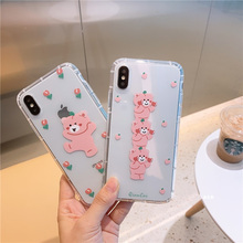 Cartoon pink bears case for iPhone xr xs max 8plus silicon soft flower puppy bear Anti-knock cover x 6 s 8 7 plus i10