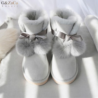 G&Zaco Luxury Brand Sheepskin Boots Sweet Bow Fox Ball Flat Natural Wool Sheep Fur Short Ankle Boots Winter Women's Shoes