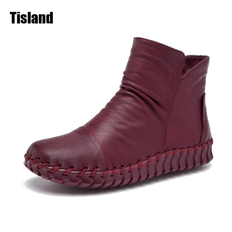 2017 Autumn Winter Vintage Genuine Leather Women Handmade Ankle Boots Leisure Flats Platform Shoes Woman Plus Size 35-42
