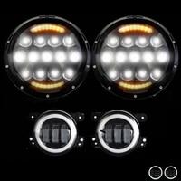 7 Inch 105W LED Halo Headlights+4 Inch 30W LED Fog Light DRL Halo Ring Kit For Jeep Wrangler JK TJ