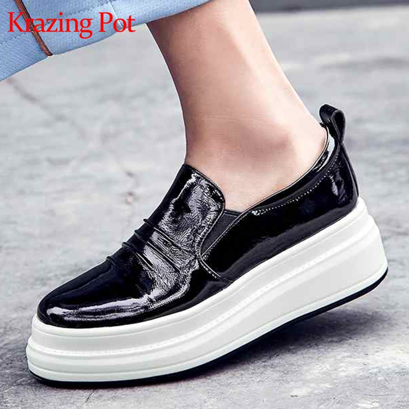 Krazing Pot Spring Autumn natural cow leather flat platform round toe sneakers for women streetwear cozy